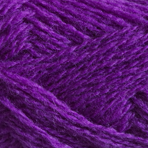 Close-up of a ball of Shetland Spindrift yarn in 0600 Violet.