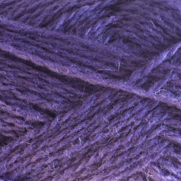 Close-up of a ball of Shetland Spindrift yarn in 0610 Purple.