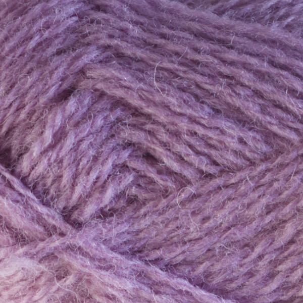 Close-up of a ball of Shetland Spindrift yarn in 0617 Lavender.
