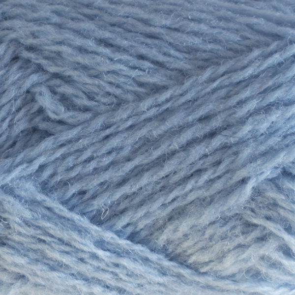 Close-up of a ball of Shetland Spindrift yarn in 0655 China Blue.