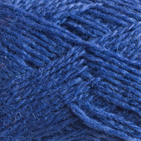 Close-up of a ball of Shetland Spindrift yarn in 0684 Cobalt.