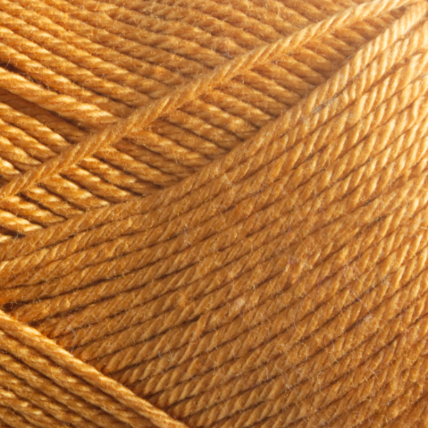 Close up of Quattro cotton yarn in shade 075 Gold.