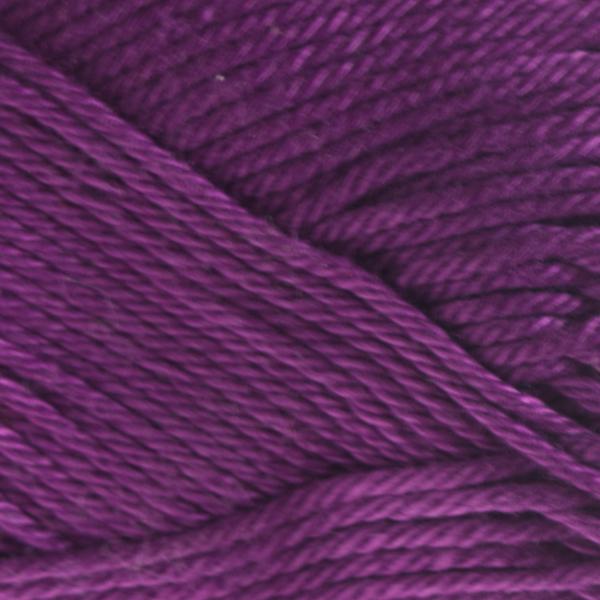 Close up of Quattro cotton yarn in shade 080 Purple.
