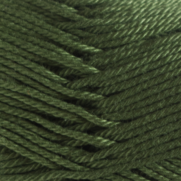 Close up of Quattro cotton yarn in shade 097 Olive.