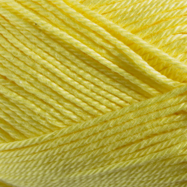 Close up of Quattro cotton yarn in shade 113 Lemon Yellow.