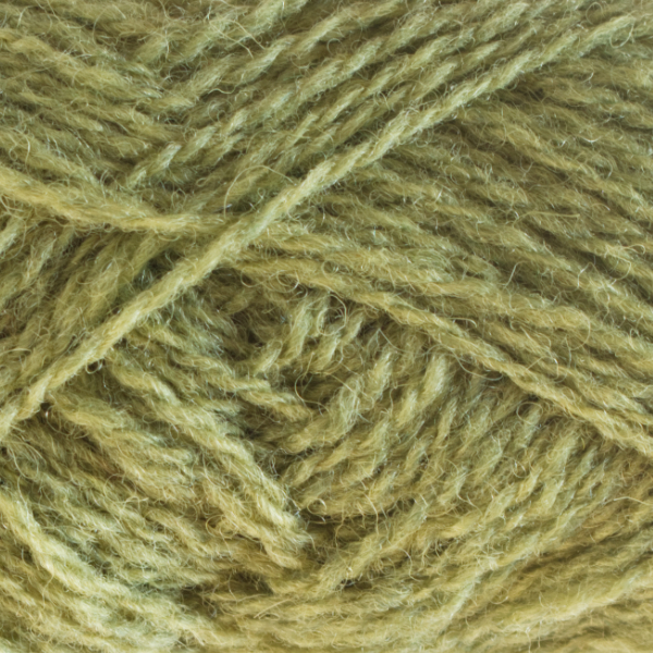Close-up of a ball of Shetland Spindrift yarn in 1140 Granny Smith.