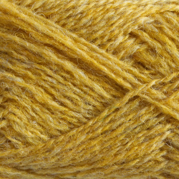 Close-up of a ball of Shetland Spindrift yarn in 1160 Scotch Broom.