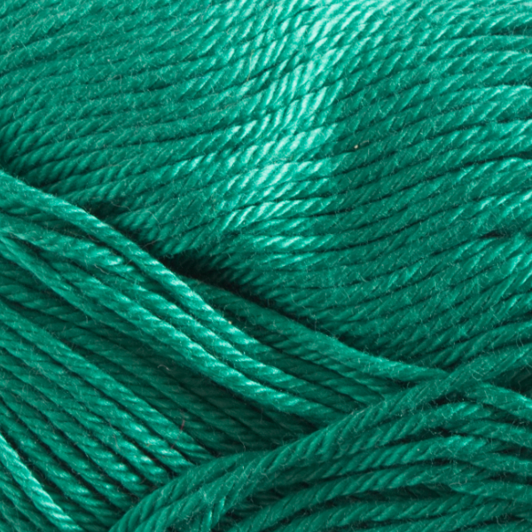 Close up of Quattro cotton yarn in shade 118 Green.