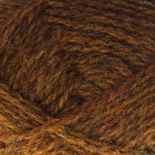 Close-up of a ball of Shetland Spindrift yarn in 1190 Burnt Umber.