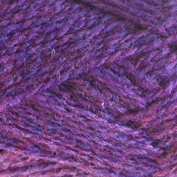 Close-up of a ball of Shetland Spindrift yarn in 1300 Aubretia.