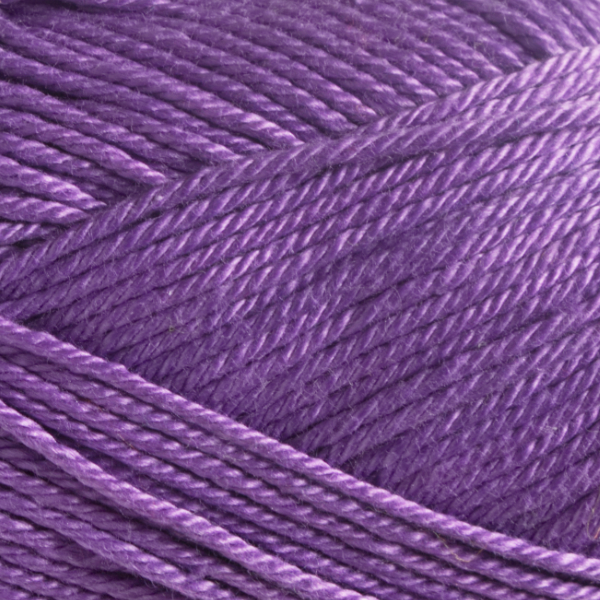 Close up of Quattro cotton yarn in shade 146 Lavender.