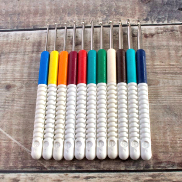 Addi Comfort Grip crochet hooks handles with ribbed grips colour-coded for size