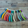 Addi Swing crochet hooks have ergonomic handles colour-coded for size