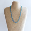 Aqua colour sparkly crochet necklace made using fine thread and beads