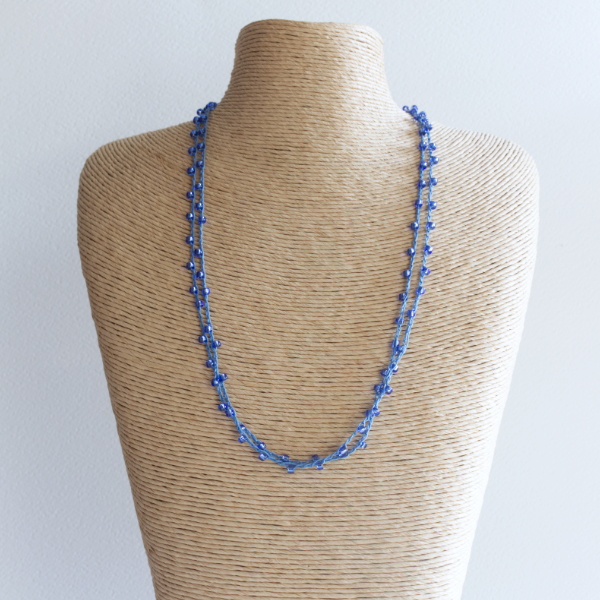 Denim blue sparkly crochet necklace made using fine thread and beads