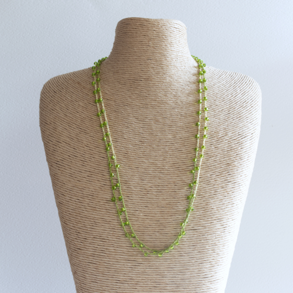 Lime green sparkly crochet necklace made using fine thread and beads