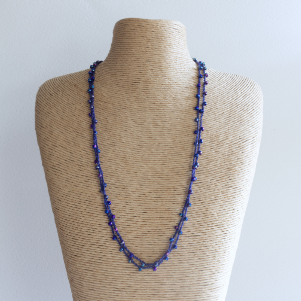 Midnight blue sparkly crochet necklace made using fine thread and beads