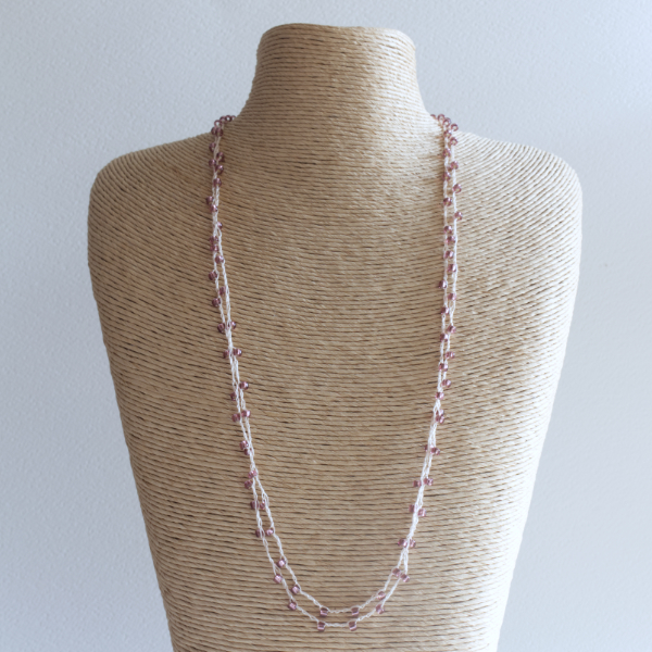 Mink sparkly colour crochet necklace made using fine thread and beads