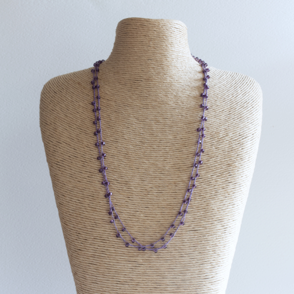 Purple sparkly crochet necklace made using fine thread and beads
