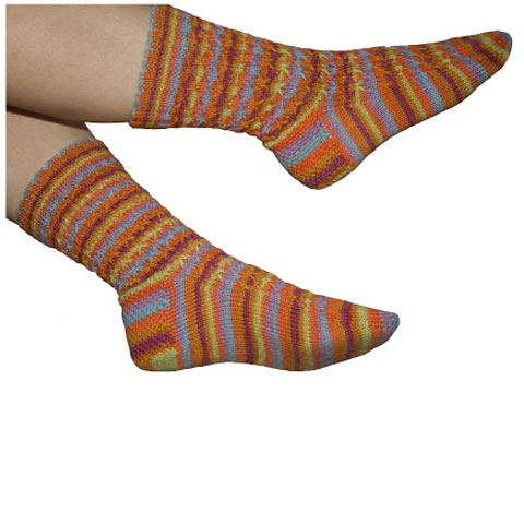 Hand-knitted patterned socks in orange, blue and purple stripy yarn