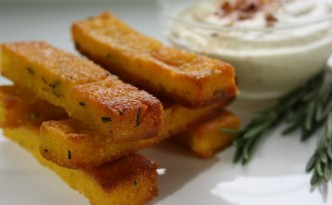 Gluten Free Rosemary Orange Polenta Fries with Curry Mayo