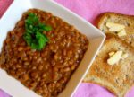 Homemade Baked Beans with Bacon on Gluten Free toast