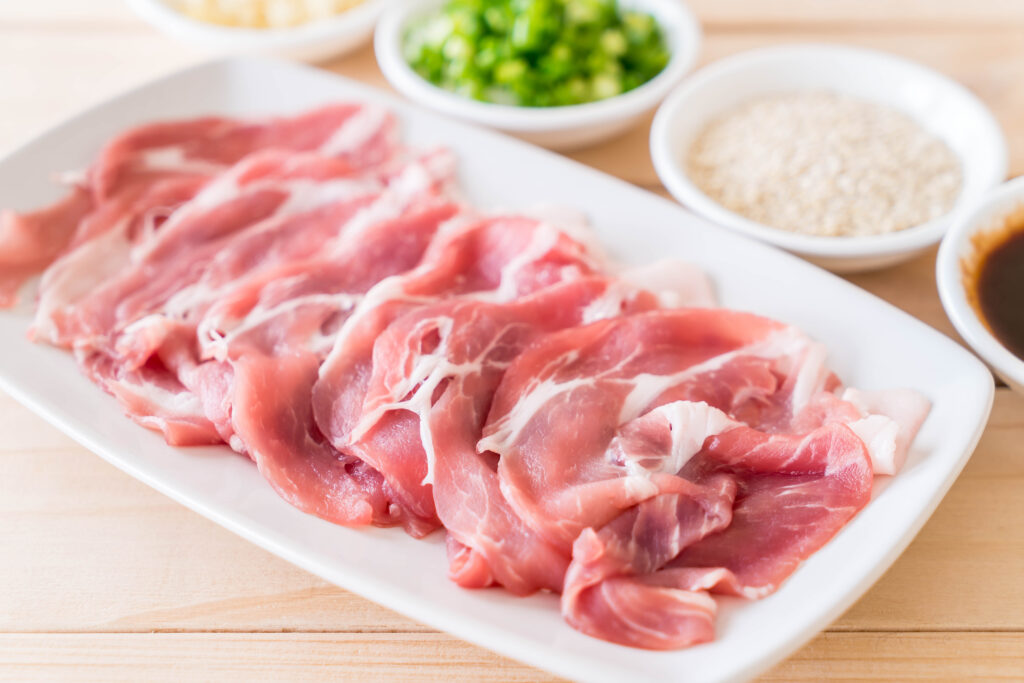 fresh pork sliced with ingredients