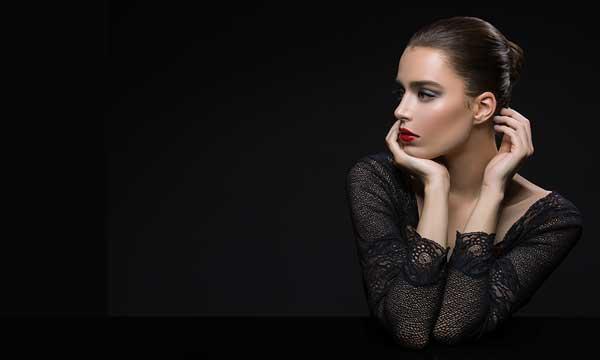 Model on black background
