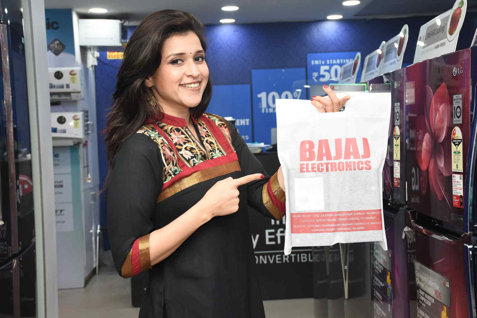 Actress Mannara Chopra (Exclusive Pics) at the Launch of Festive Offers by Bajaj Electronics