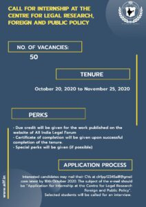 CALL FOR INTERNSHIP AT THE CENTRE FOR LEGAL RESEARCH, FOREIGN, AND PUBLIC POLICY