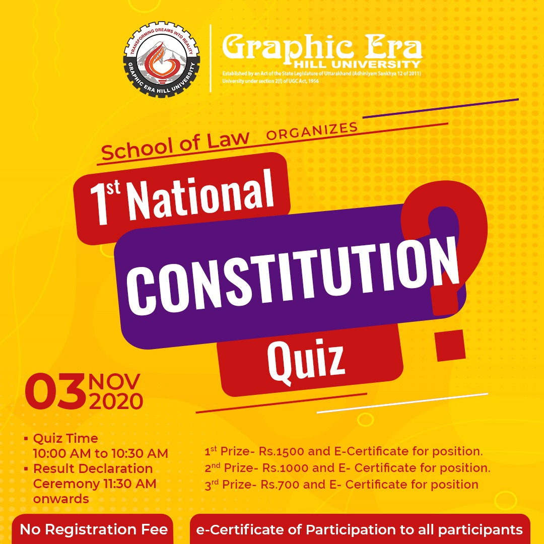National Constitution Quiz-2020 @Graphic Era Hill University, Dehradun