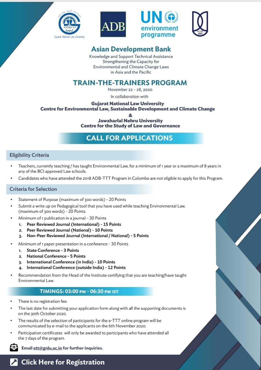 CALL FOR APPLICATIONS: Asian Development Bank