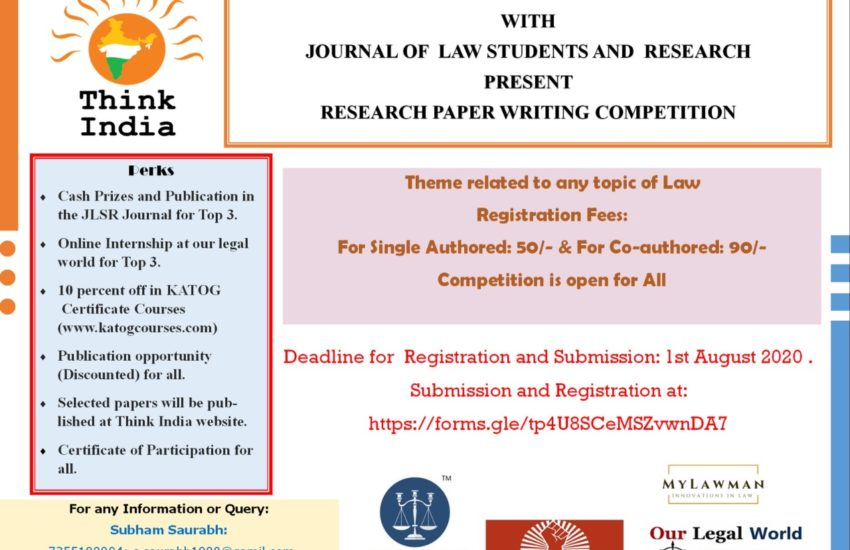 RESEARCH PAPER WRITING COMPETITION BY THINK INDIA HIMACHAL PRADESH IN COLLABORATION WITH JOURNAL FOR LAW STUDENTS AND RESEARCHERS