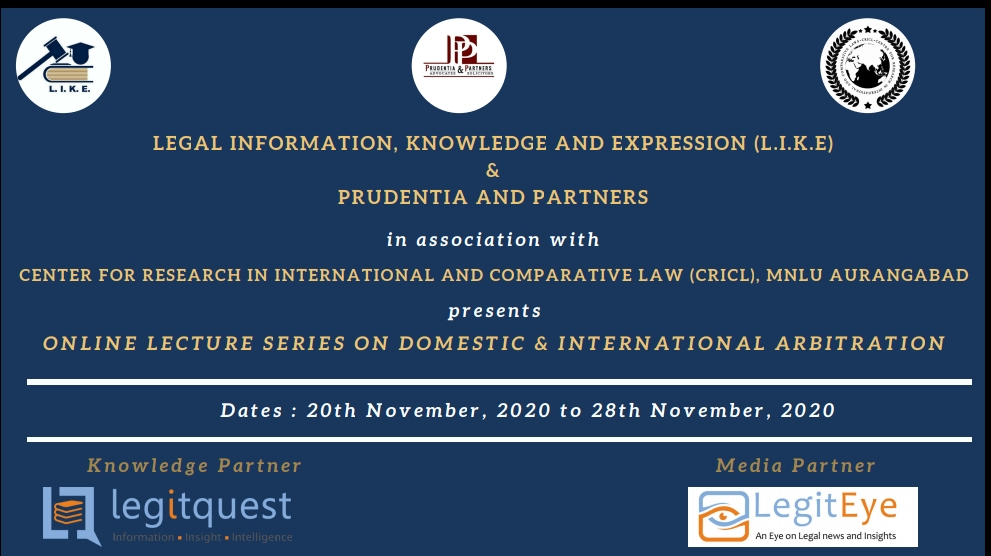 Online lecture series on Domestic &  International Arbitration (20 November 2020 to 28 November 2020)