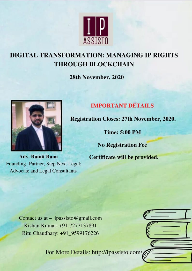 WEBINAR ON DIGITAL TRANSFORMATION: MANAGING IP RIGHTS THROUGH BLOCKCHAIN (28 November 2020)