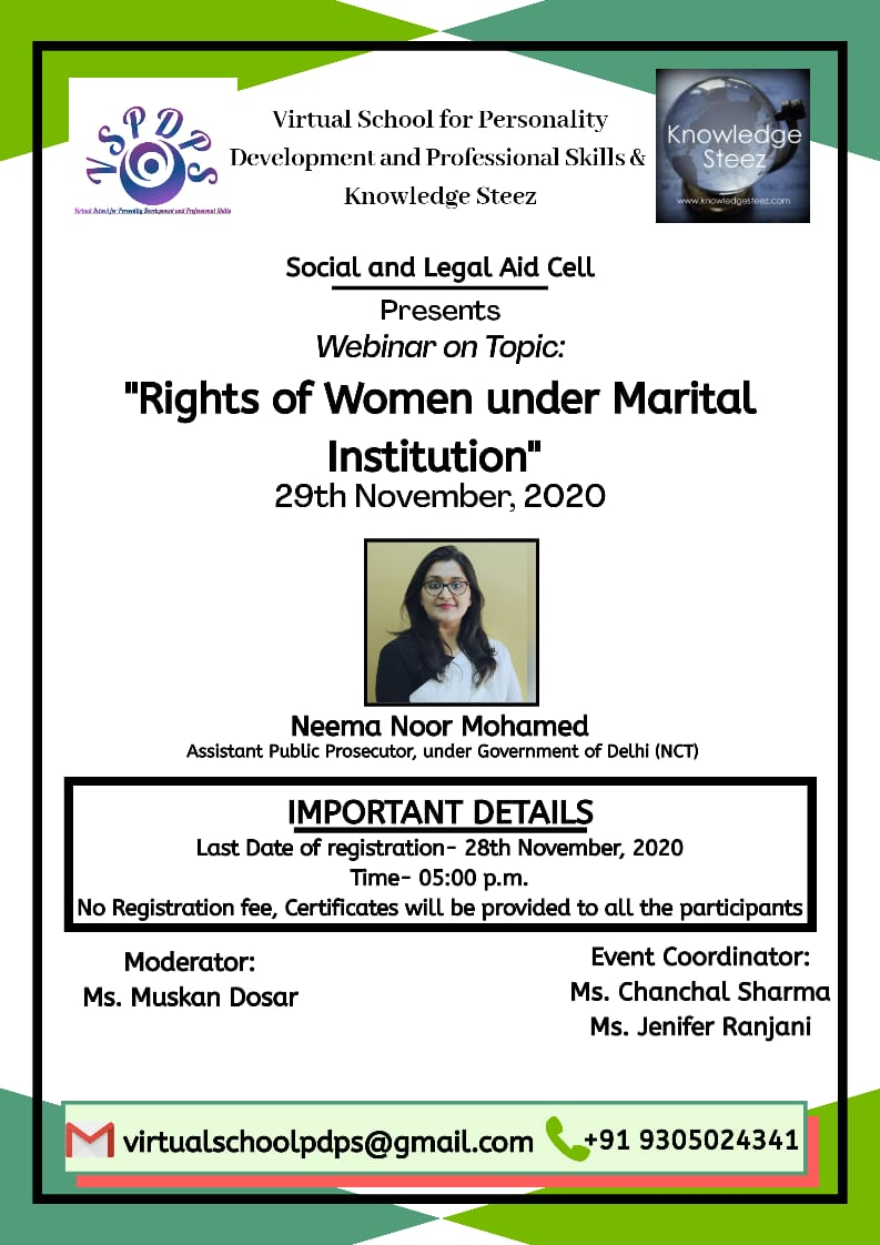 "Webinar on ""Rights of Women under Marital Institution"" on 29th November 2020"