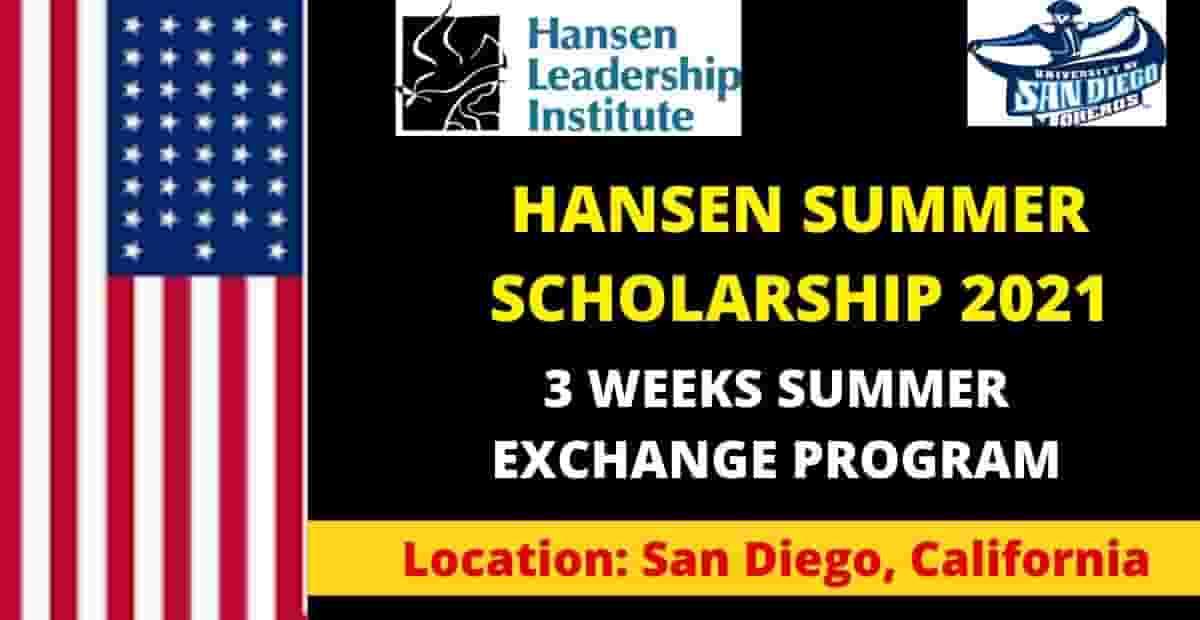 Hansen Scholarships In USA – Fully Funded Summer Exchange Program 2021