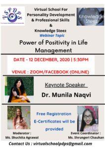 "Webinar on ""Power of positivity in life management"" on 12 December 2020"