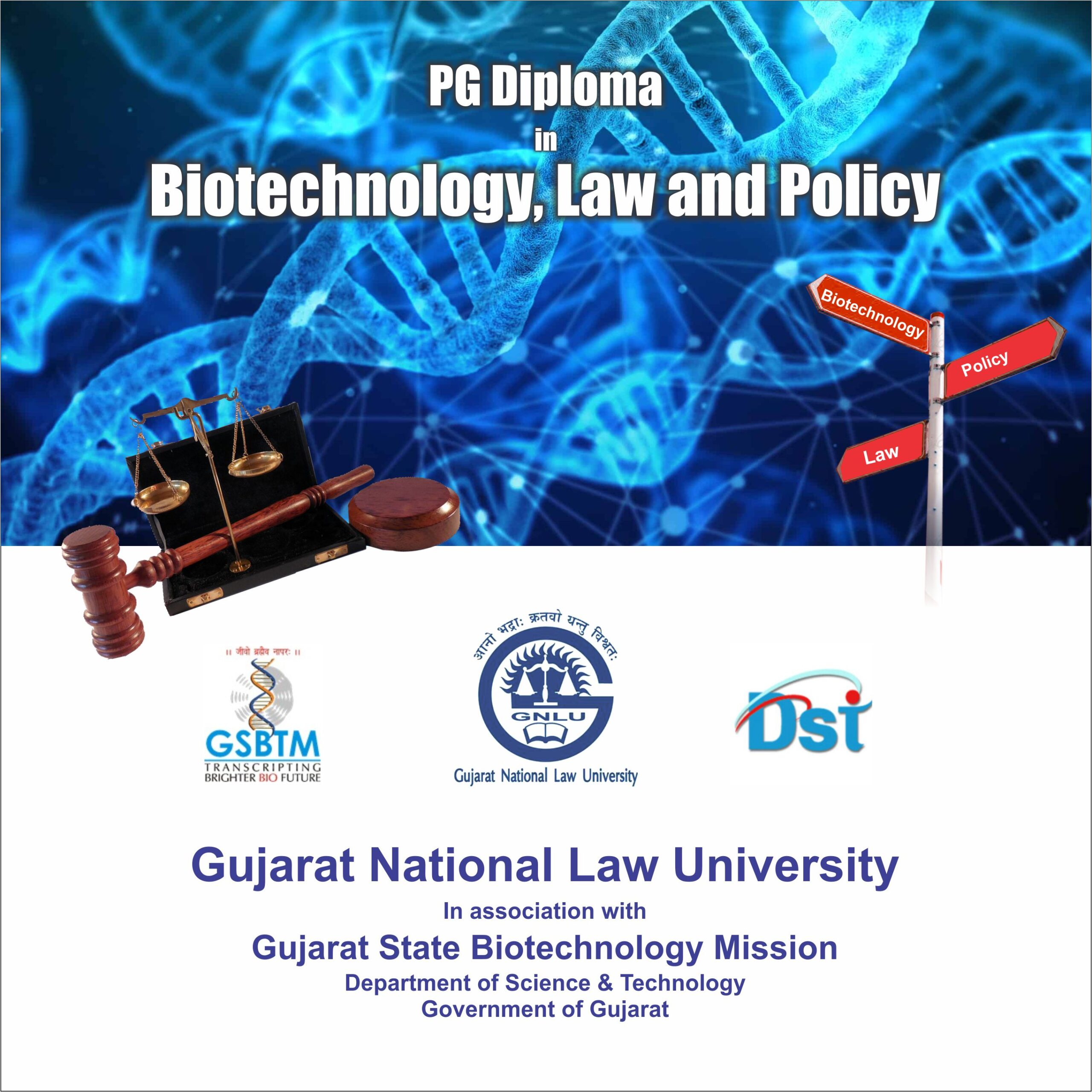 PG Diploma in Biotechnology, Law and Policy By Gujarat National Law University (Register by 31 December 2020)