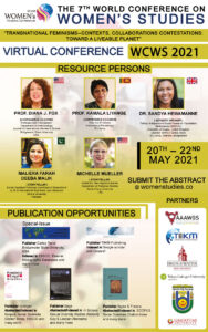 7th World Conference on Women's Studies (WCWS 2021) to be held from 20th – 22nd May 2021