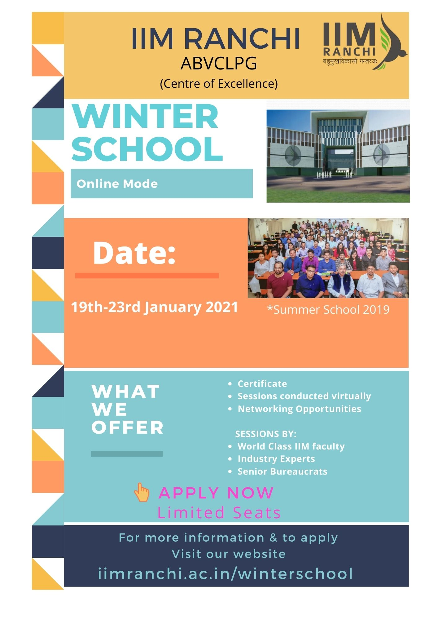 Winter School on Leadership, Policy, and Governance by IIM Ranchi (19th to 23rd January 2021)