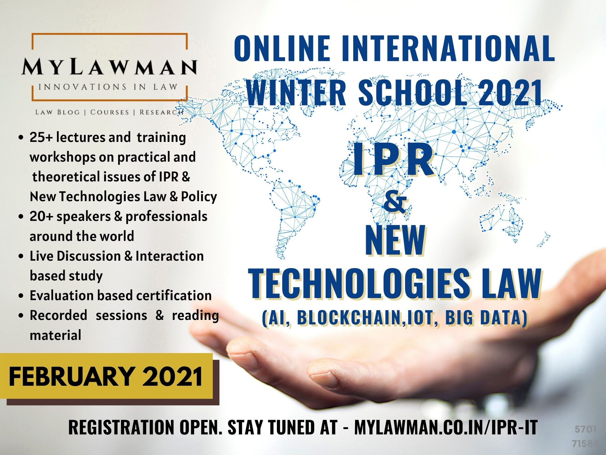 [Online] International Winter School on IPR & New Technology Law by MyLawman [Register by 2 February 2021]