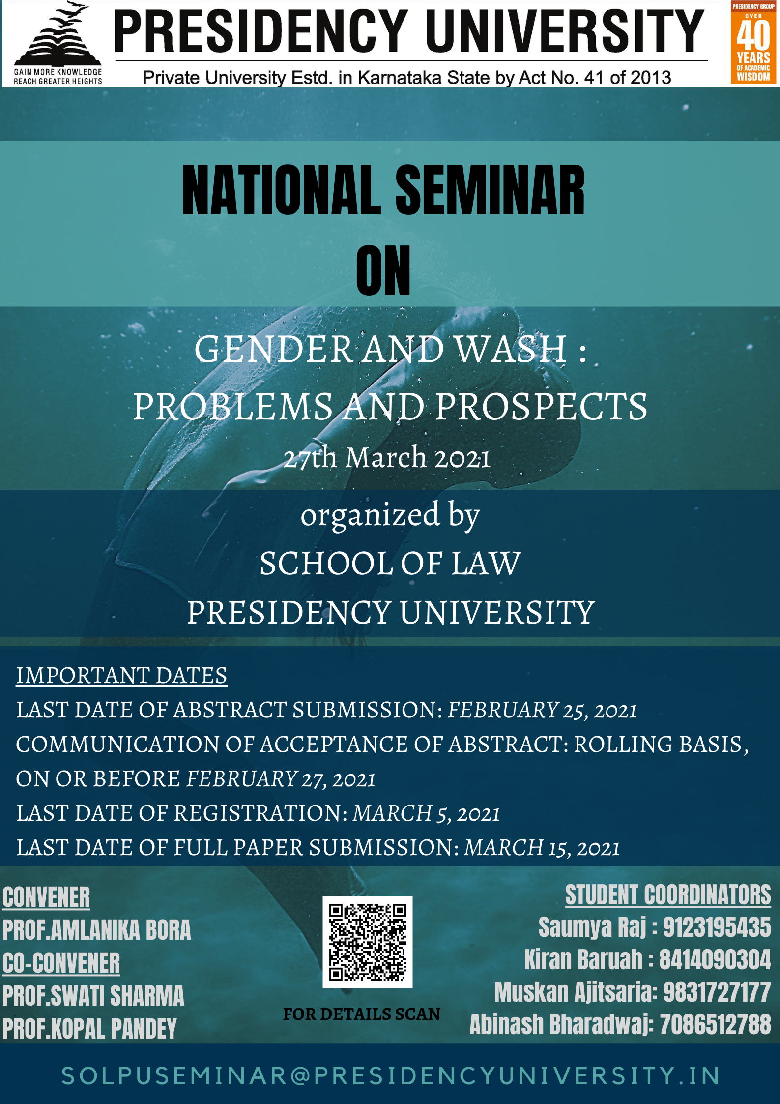 """National Seminar on """"Gender and Wash: Problems and Prospects"""" on March 27, 2021, by Presidency University."""