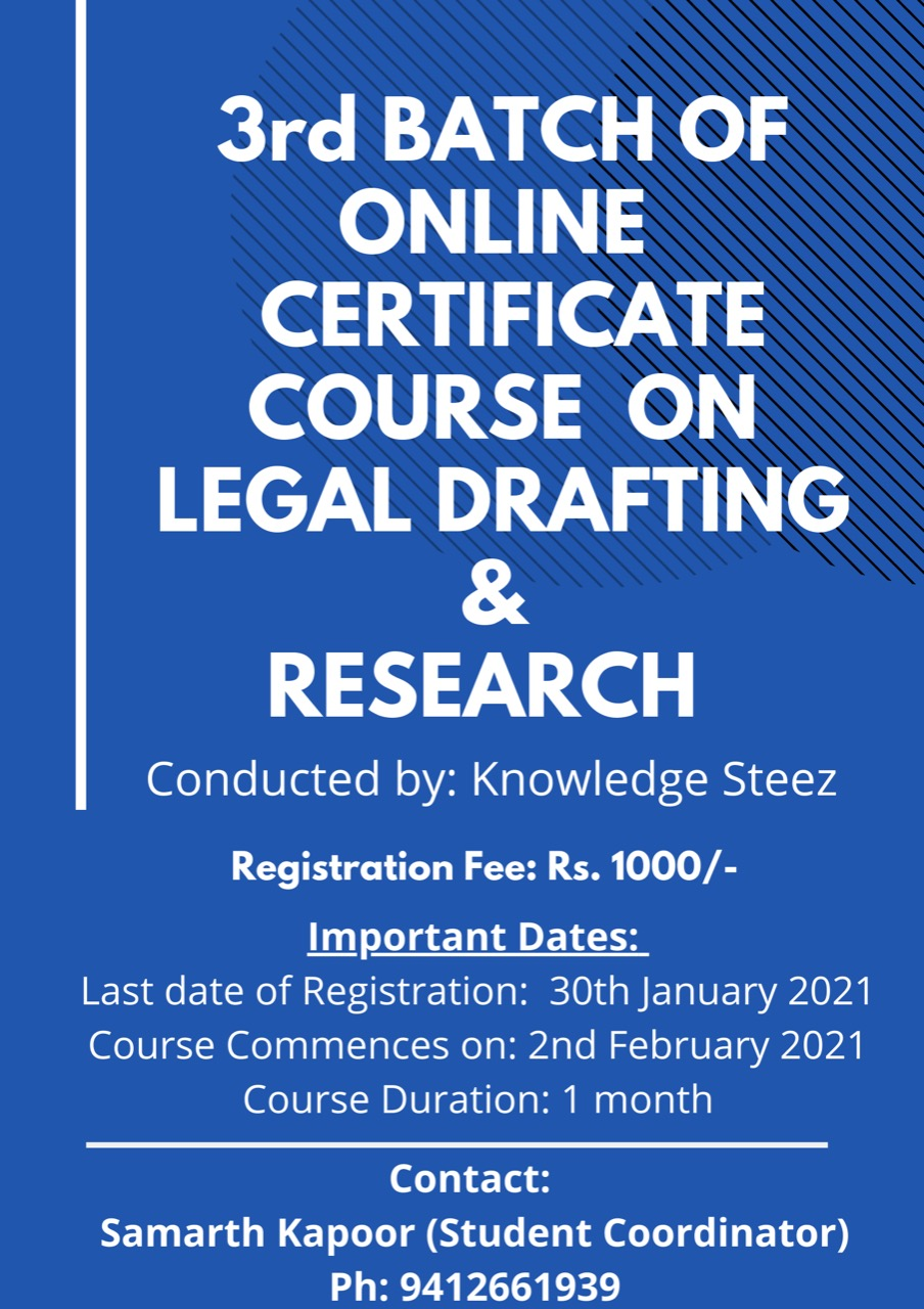 Online Certificate Course on Legal Drafting and Research (Register by 30th January)