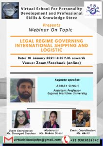 "Webinar on ""Legal Regime governing International Shipping and Logistic"" on 10 January 2021"
