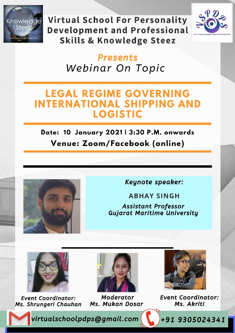 """Webinar on """"Legal Regime governing International Shipping and Logistic"""" on 10 January 2021"""
