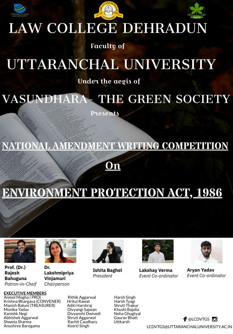 National Amendment Writing Competition @ Law College Dehradun, faculty of Uttaranchal University