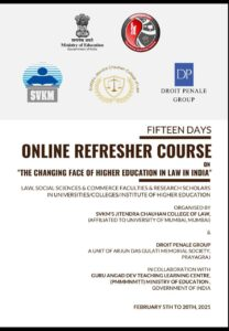 FIFTEEN DAYS ONLINE REFRESHER COURSE : LAST DATE TO REGISTER 2ND FEBRUARY 2021