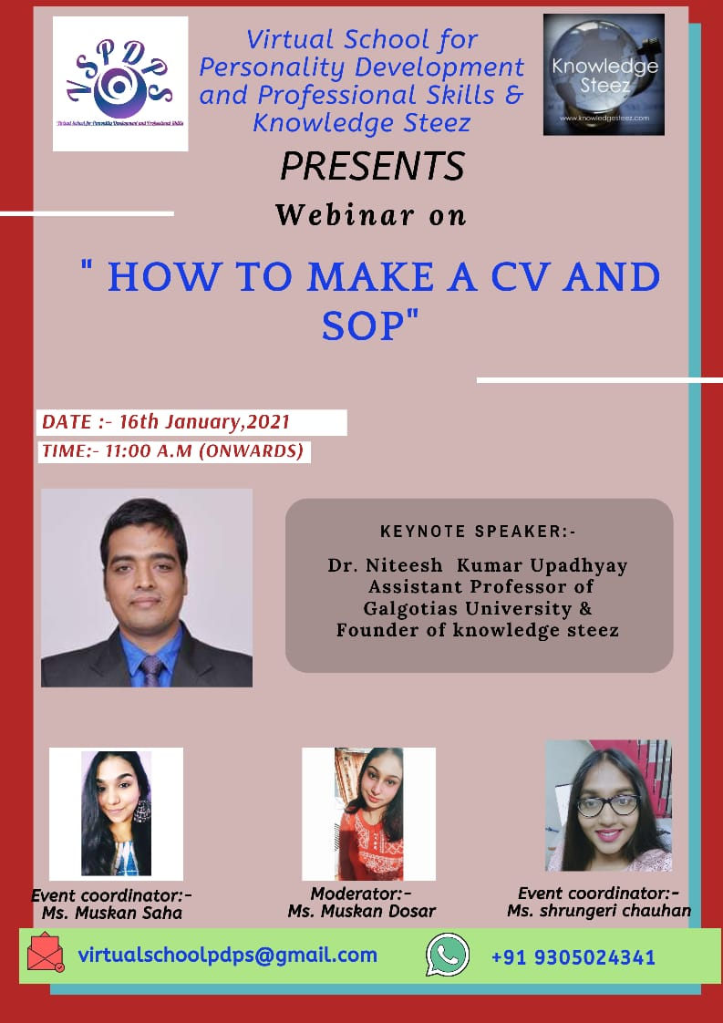"""Webinar on """"How to Write A CV and SOP"""" on 16 January 2021"""