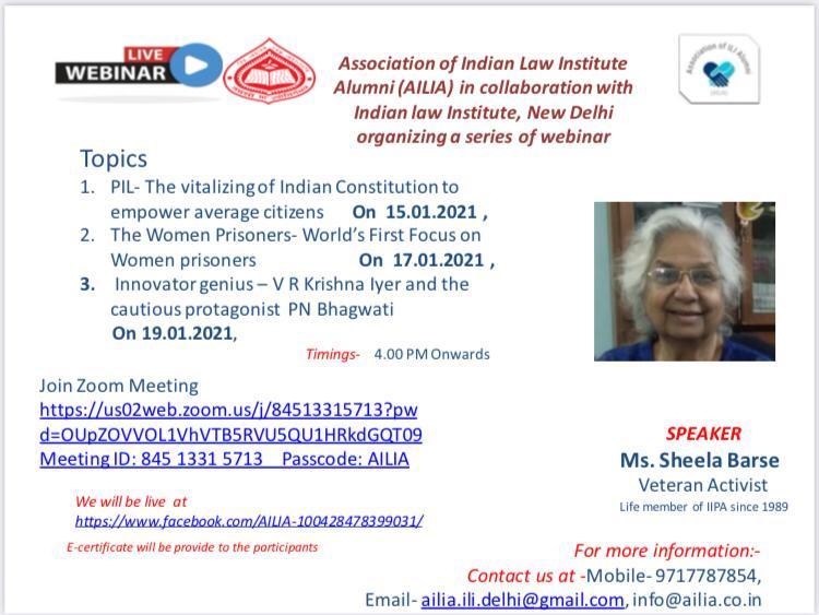 Association of Indian Law Institute Alumni (AILIA) in collaboration with Indian law Institute, New Delhi organizing a series of webinar
